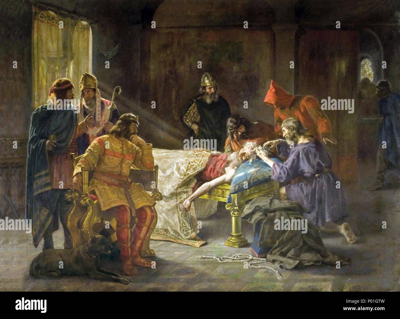 . Català: la tonsura del rei Wamba . Català: la tonsura del rei Wamba . (1894 c.) 2 la tonsura del rei Wamba - Joan Brull i Vinyoles (1863-1912) Foto de stock