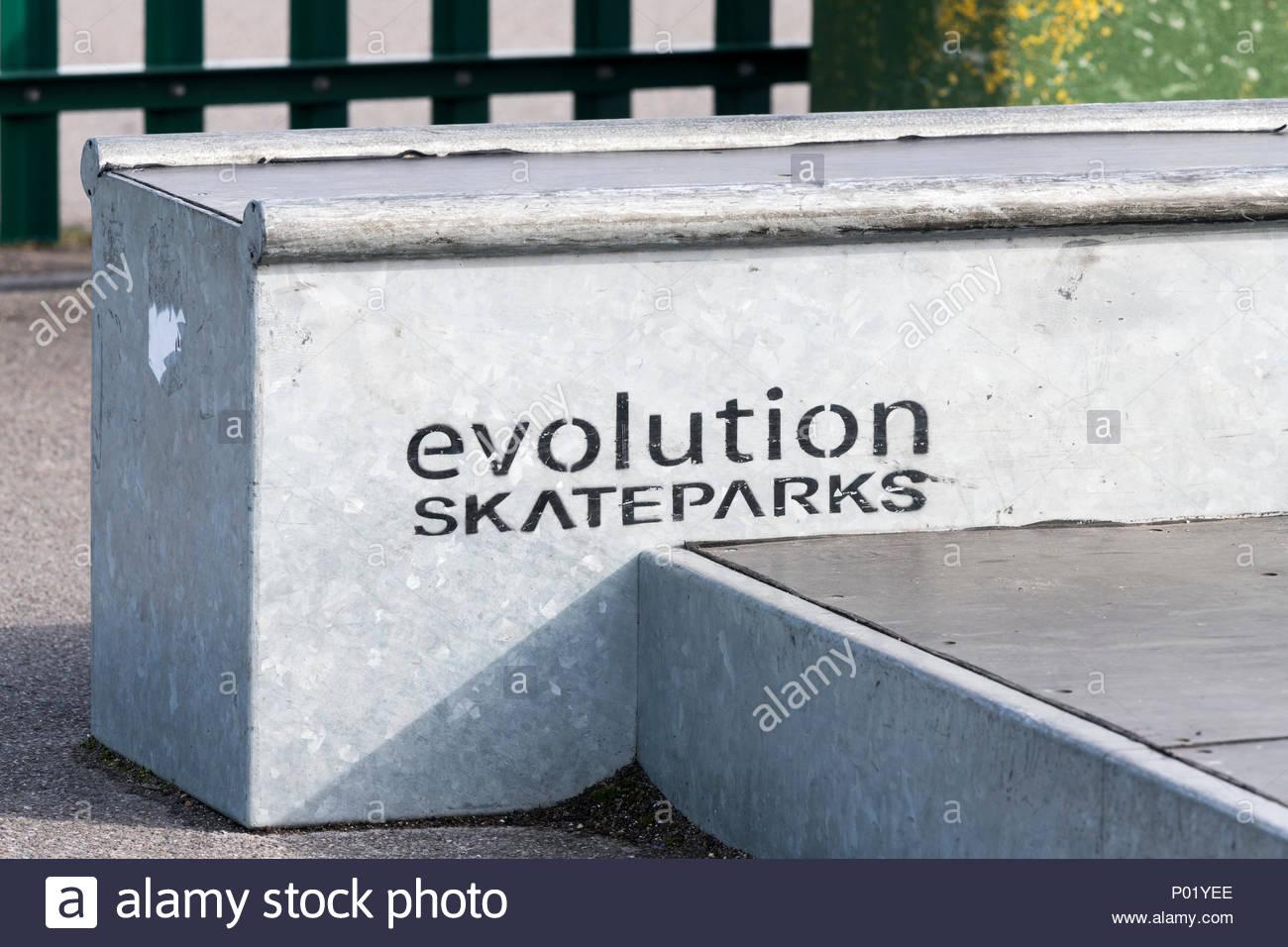 Evolución skateparks, Blandford, Dorset, Inglaterra, Reino Unido. Imagen De Stock