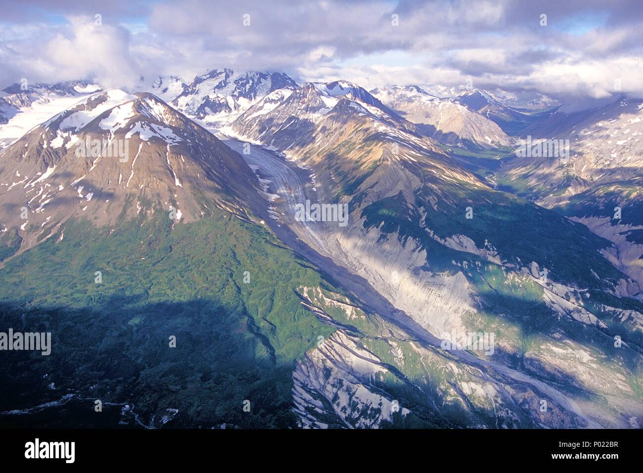 Grandes paisajes, nieve, hielo, montañas, glaciares, Cordillera de Alaska, Yukon, Canadá Imagen De Stock