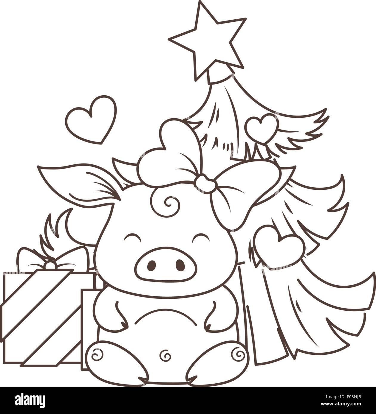 Cute dibujos animados de cerdo en amor con el árbol de navidad ...