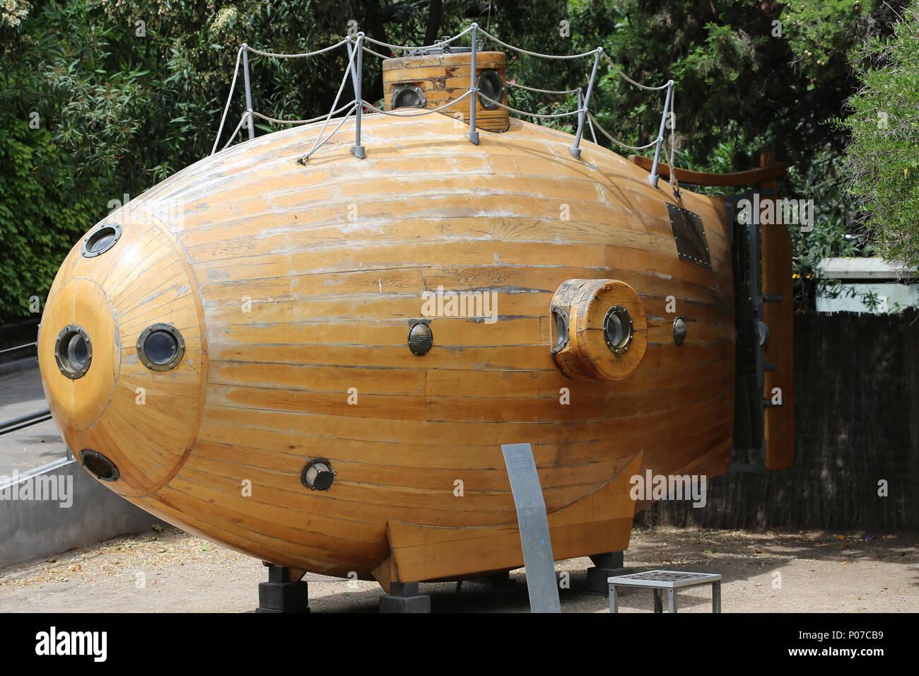 Ictineo I. fue un pionero de submarino, construido por el ingeniero Nacis Monturiol, 1858-59. Barcelona, España. Imagen De Stock