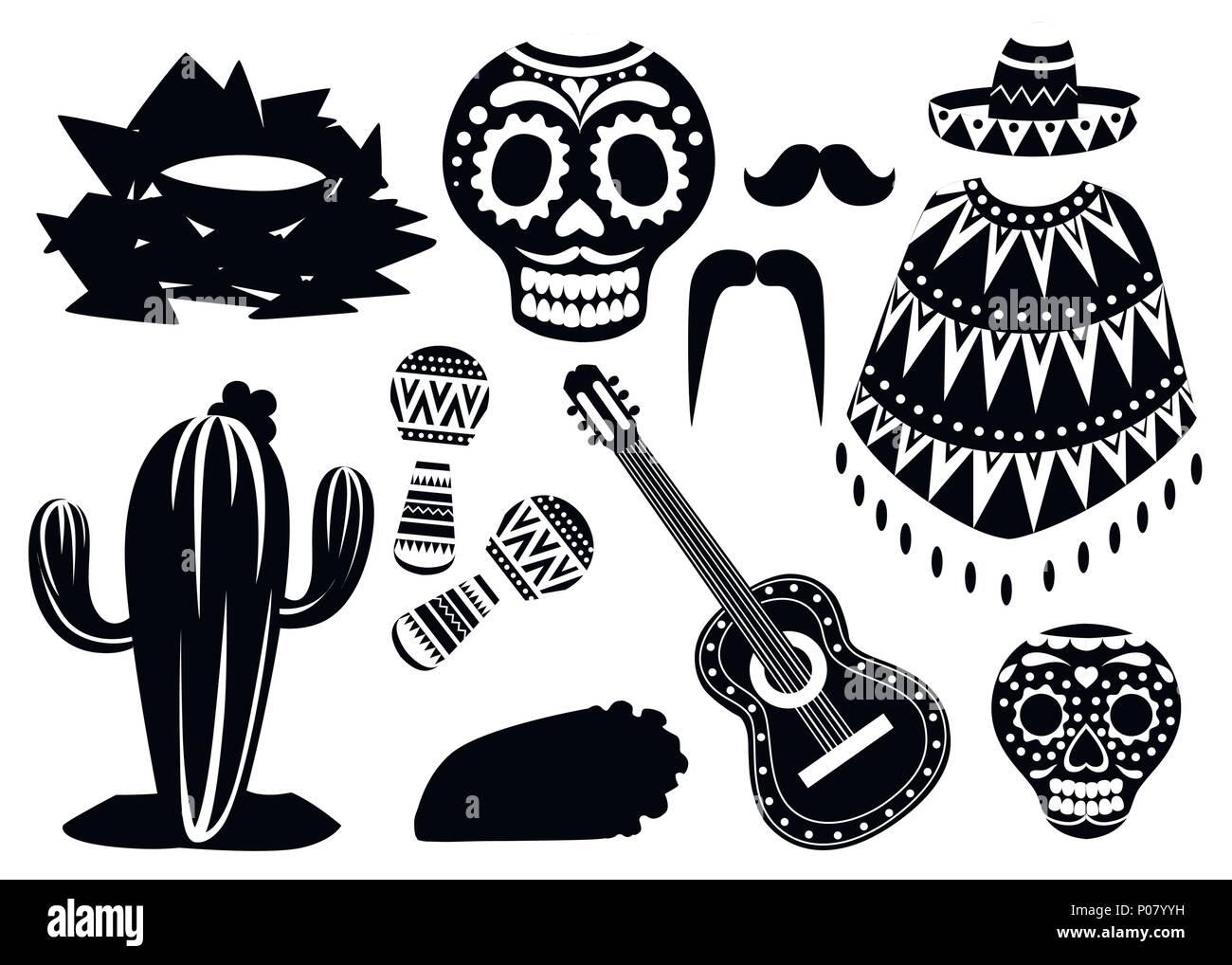 México Símbolos En Blanco Y Negro Iconos Vectoriales De México