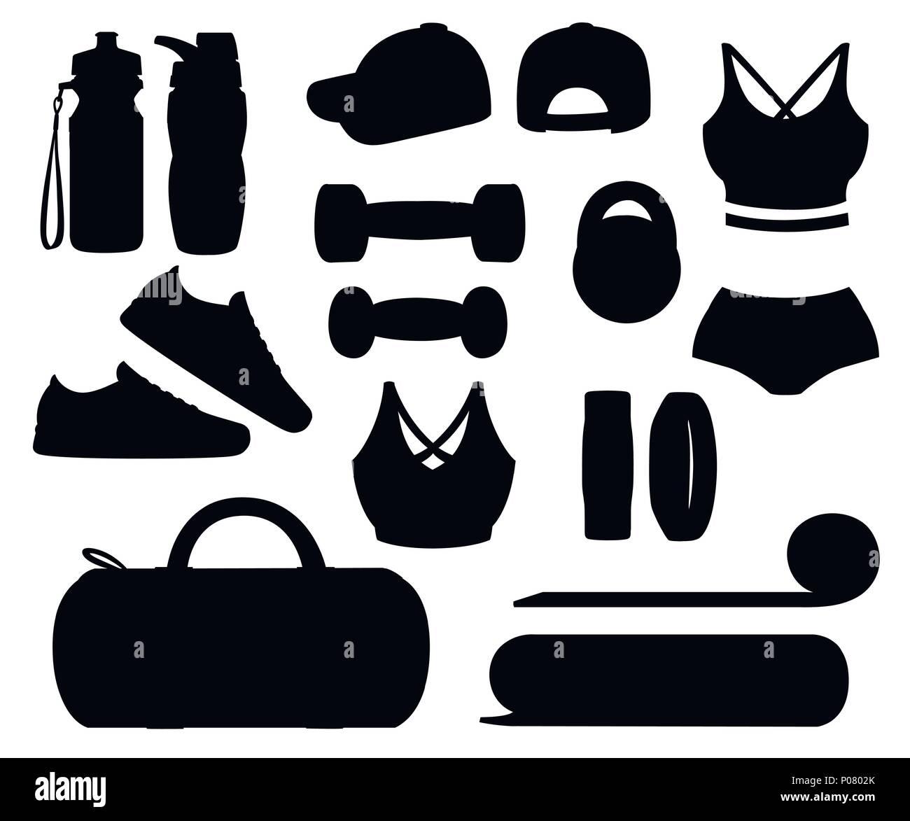 Conjunto de accesorios y ropa deportiva. Las mujeres trajes. Iconos para  clases en el gimnasio. Ilustración vectorial aislado sobre fondo blanco. e45b32e660f1c