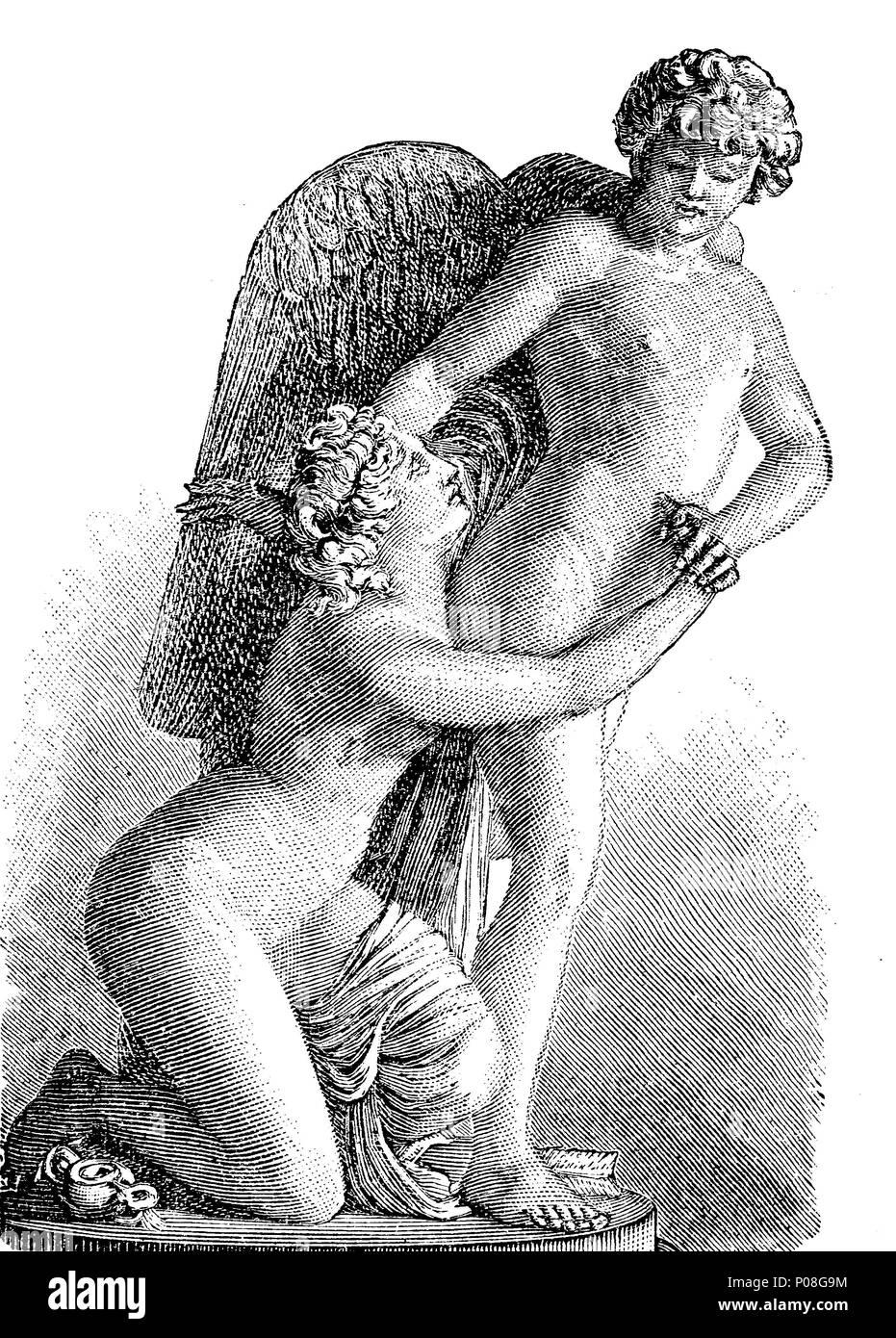 Sergel: Amor und psique, Cupido y psique, una historia originalmente desde Metamorphoses, escrito en el siglo II A.C. por Lucio Apuleyo Madaurensis, digital mejora la reproducción de una impresión original desde el año 1881 Imagen De Stock