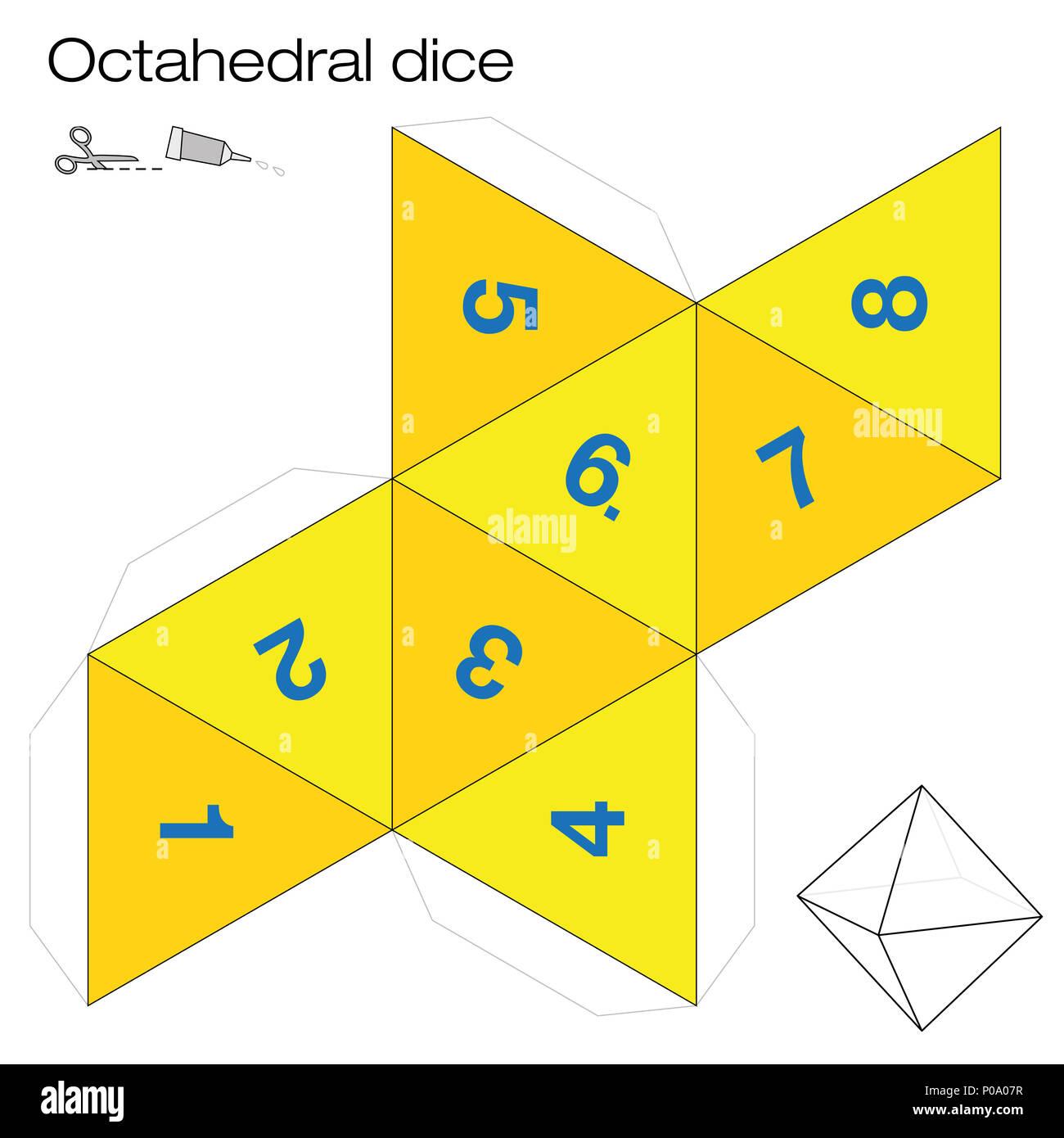 Octaedro plantilla, dados octaédricos - uno de los cinco sólidos ...