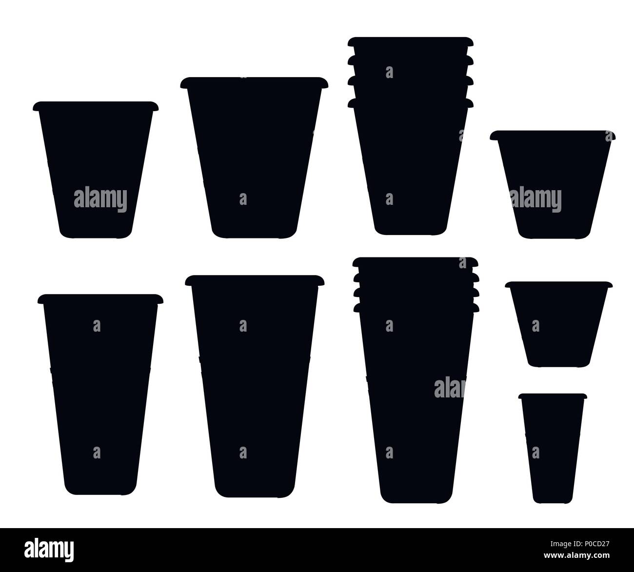 Silueta Negra Juego De Vasos De Plastico Los Vasos Desechables