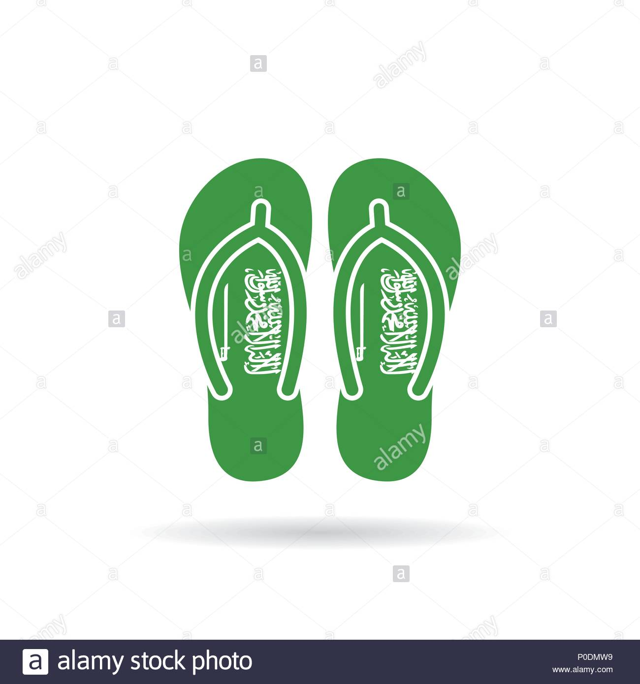 Sandalias Blanco En Bandera Icono Flop Saudita Arabia Fondo Un Flip 8OnX0wkP