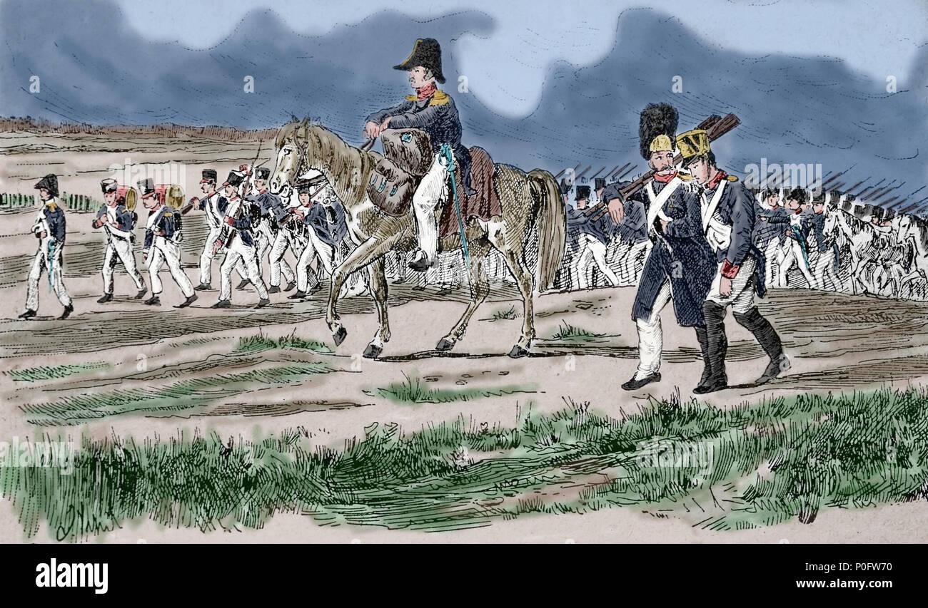 Las tropas francesas en marzo. Federación de campaña. 1812. Las guerras napoleónicas. Grabado del siglo XIX. Foto de stock