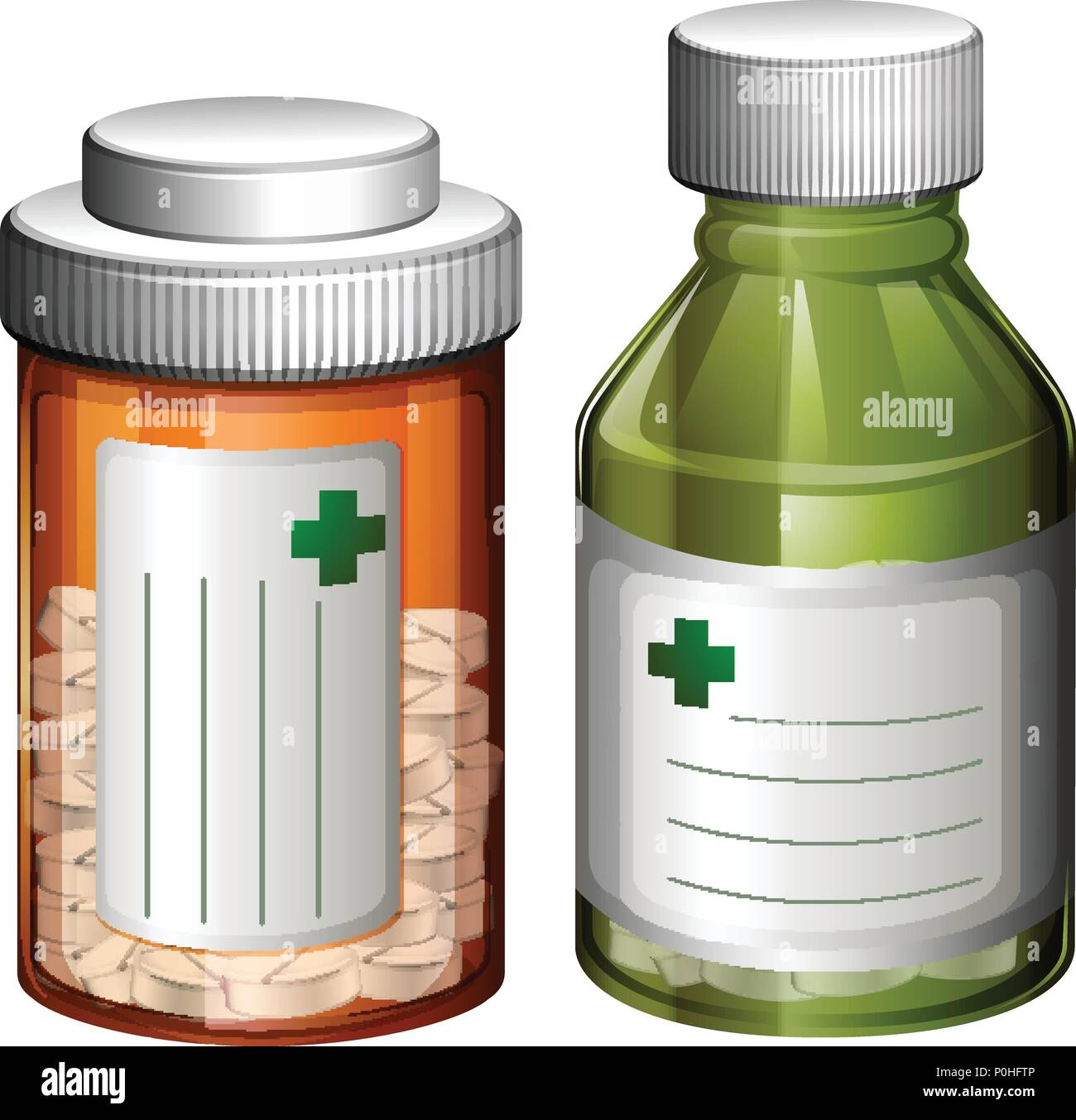 Un conjunto de botella de medicamento ilustración Imagen De Stock
