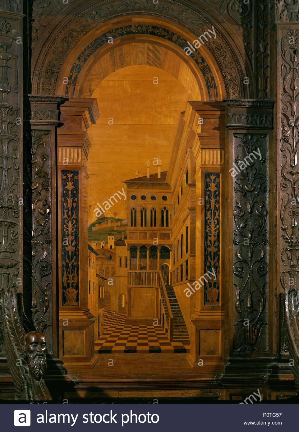 Calles y casas, trompe l'oeil. Incrustaciones de madera de la sillería del coro (1499) . Autor: FRA GIOVANNI DA VERONA. Lugar: Iglesia de Santa Maria in Organo, Verona, Italia. Imagen De Stock