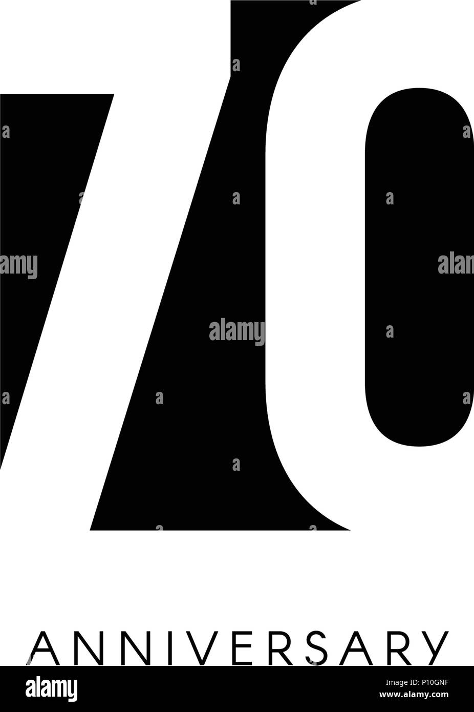 Setenta Aniversario Logo Minimalista 70 Años 70 Jubileo