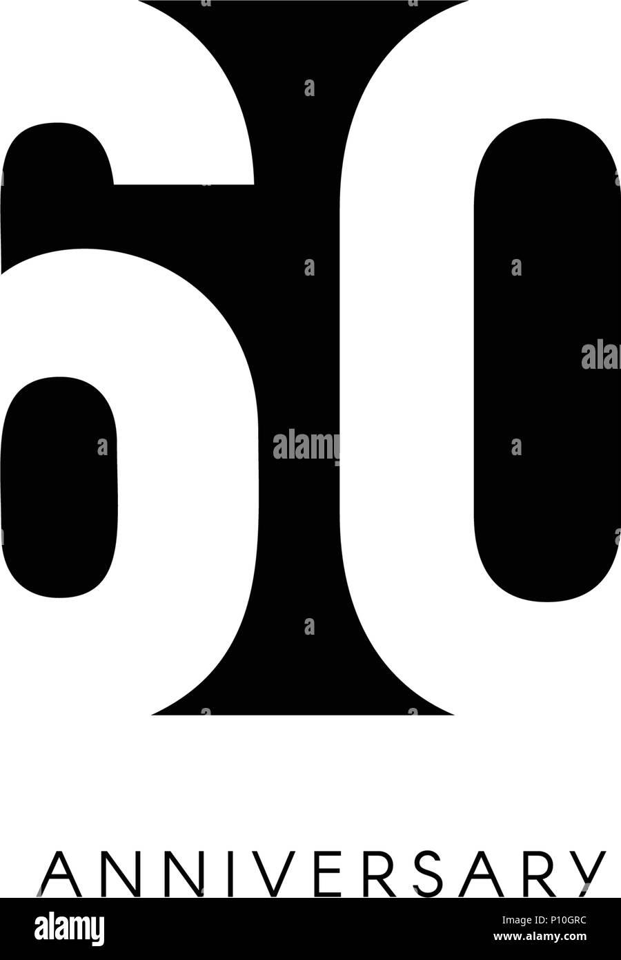 Sesenta Aniversario Logo Minimalista 60 Años 60º Jubileo