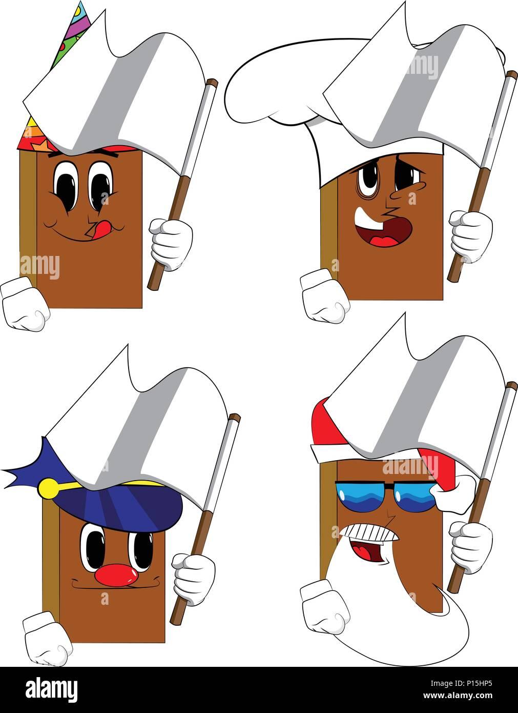Libros sosteniendo una bandera blanca de la rendición. Colección de libros  de dibujos animados con af284a96268c