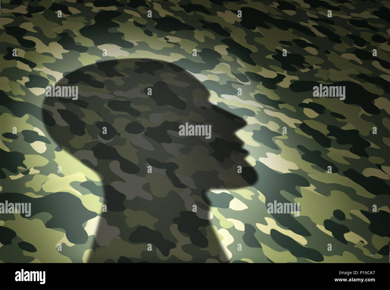 Concepto de asuntos militares y de veteranos o el símbolo de seguridad va como la sombra de un soldado en un camuflaje textura en 3D de una ilustración de estilo. Imagen De Stock