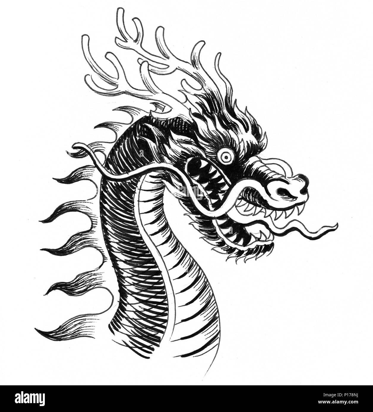 Dragón Chino Tradicional Dibujo En Blanco Y Negro De Tinta Foto