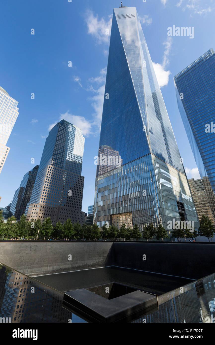 9/11 Memorial. World Trade Center. Aug, 2016. La Ciudad de Nueva York, EE.UU. Imagen De Stock