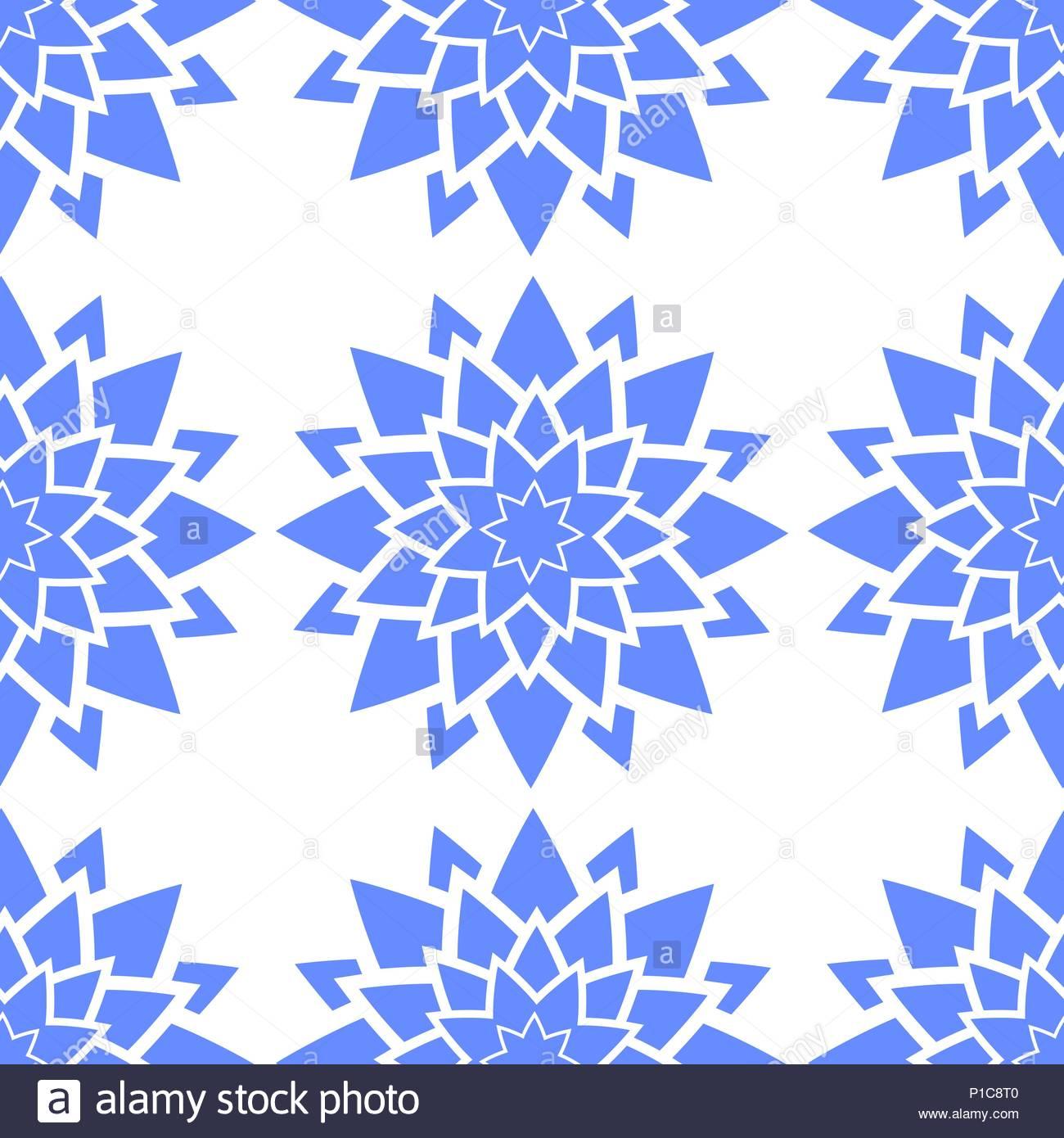 Colorido Patron Sin Fisuras De La Abstraccion De Flores Azules Sobre
