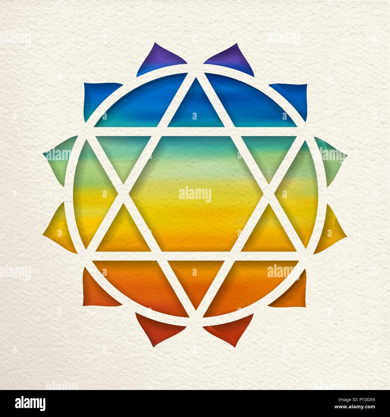 Anahata, el cuarto chakra del corazón la ilustración en el estilo de ...