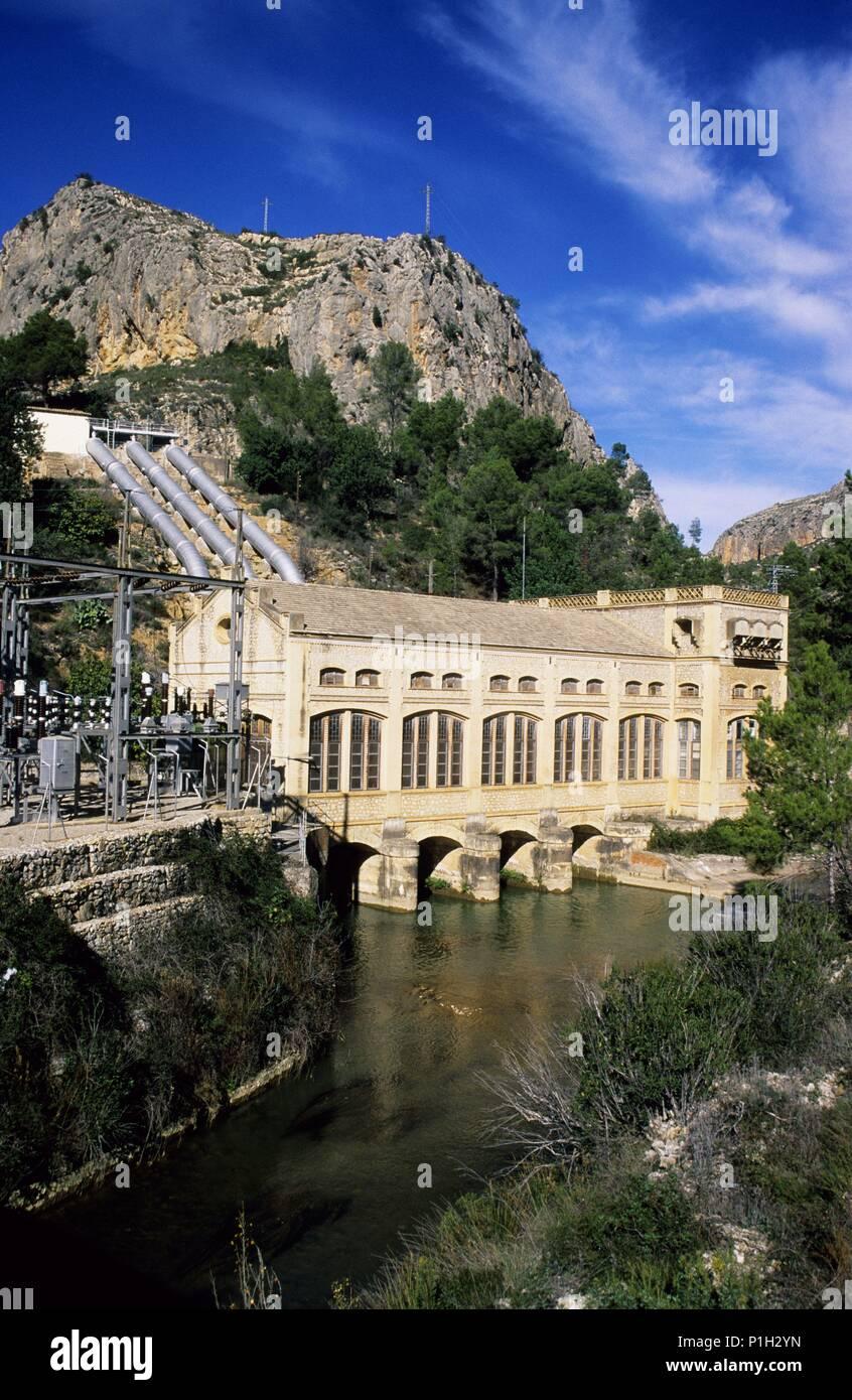 Chulilla, cerca de..., Río Túria, central hidro eléctrica, la Serranía. Imagen De Stock