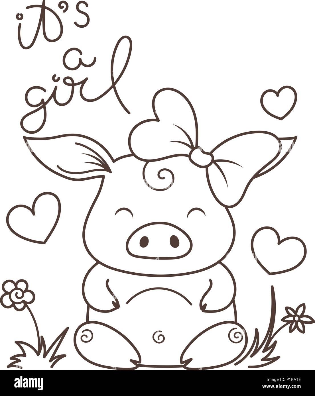 Cartoon Illustration Little Pig Sitting Imágenes De Stock & Cartoon ...