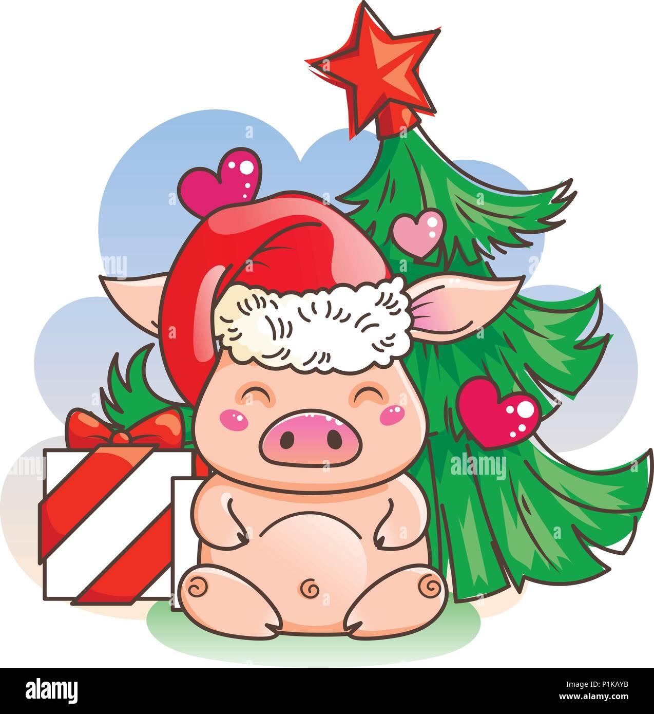 Imagenes Animadas Arboles Navidad.Cute Dibujos Animados De Cerdo En Amor Con El Arbol De