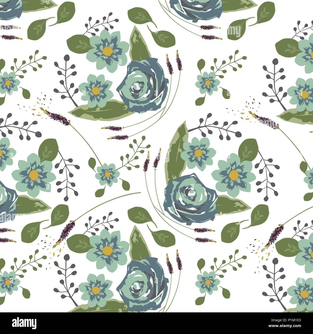 Rosas Azules En Acuarela Bouquet Patron De Flores Ilustracion Del