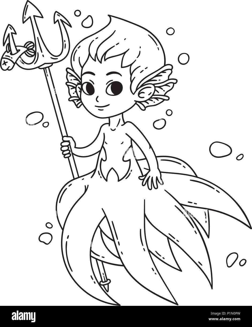 Mermaid Masculinos Triton Hombre De Pulpo Ilustración