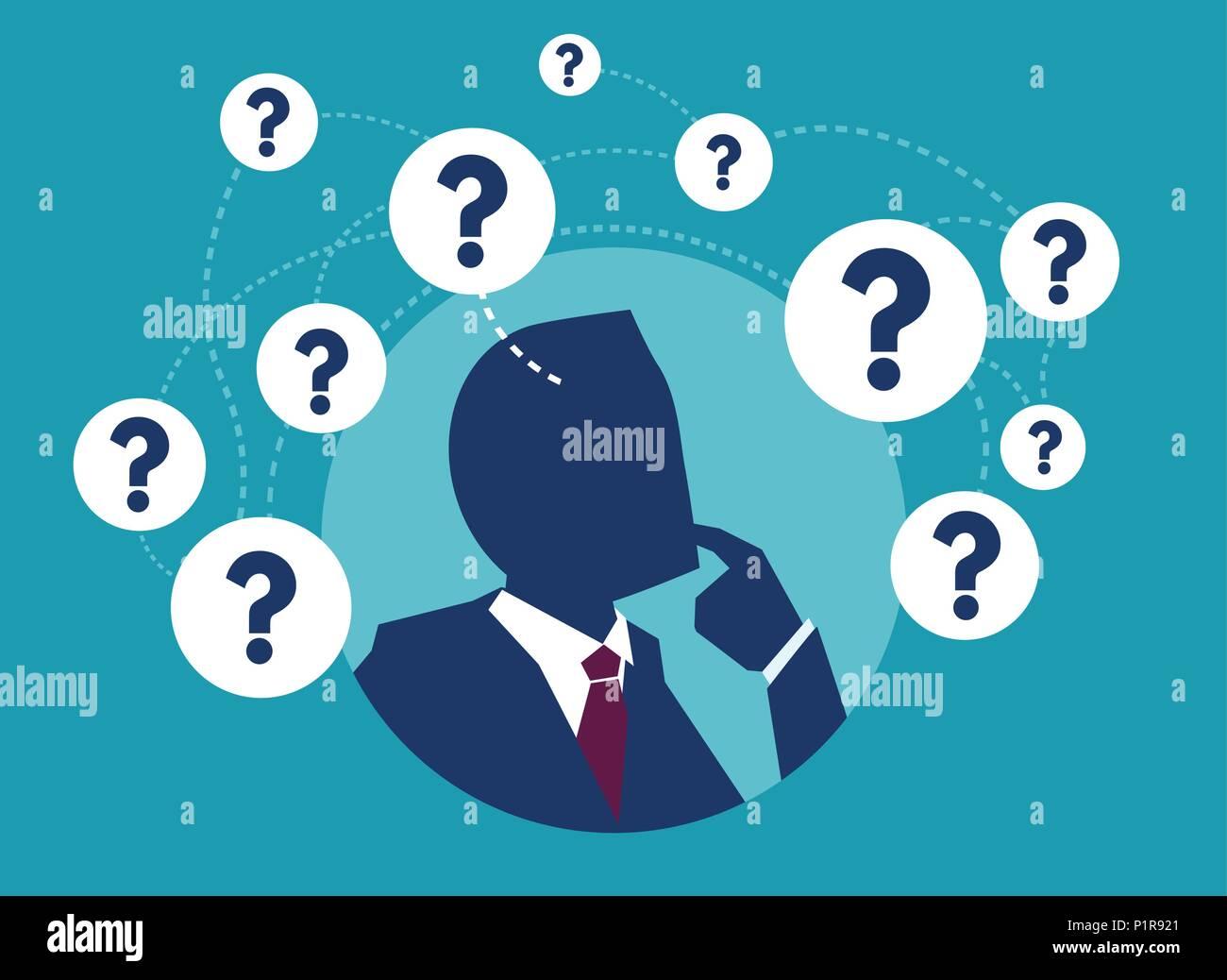 Imagen vectorial del empresario tener un montón de preguntas pensando en dudas. Imagen De Stock