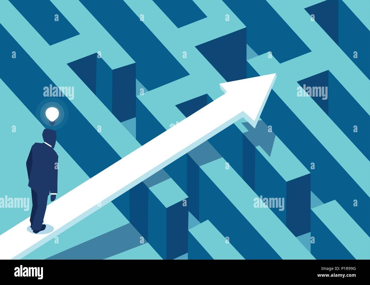 Ilustración vectorial del empresario en la perplejidad de pie cerca de laberinto flecha siguiente al éxito. Imagen De Stock