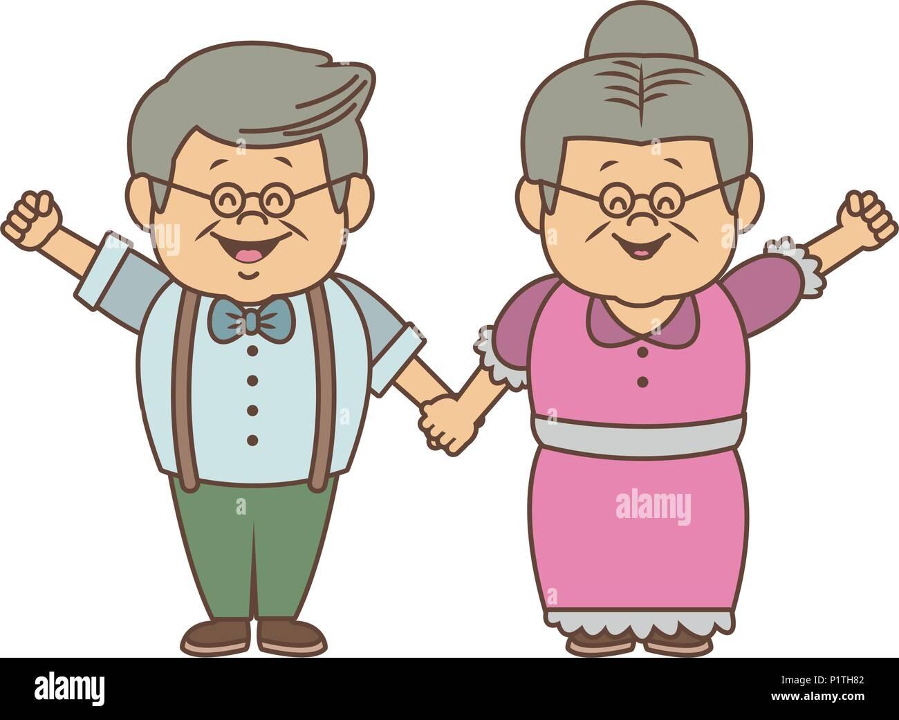 Los Abuelos Hermoso Par De Dibujos Animados Ilustración