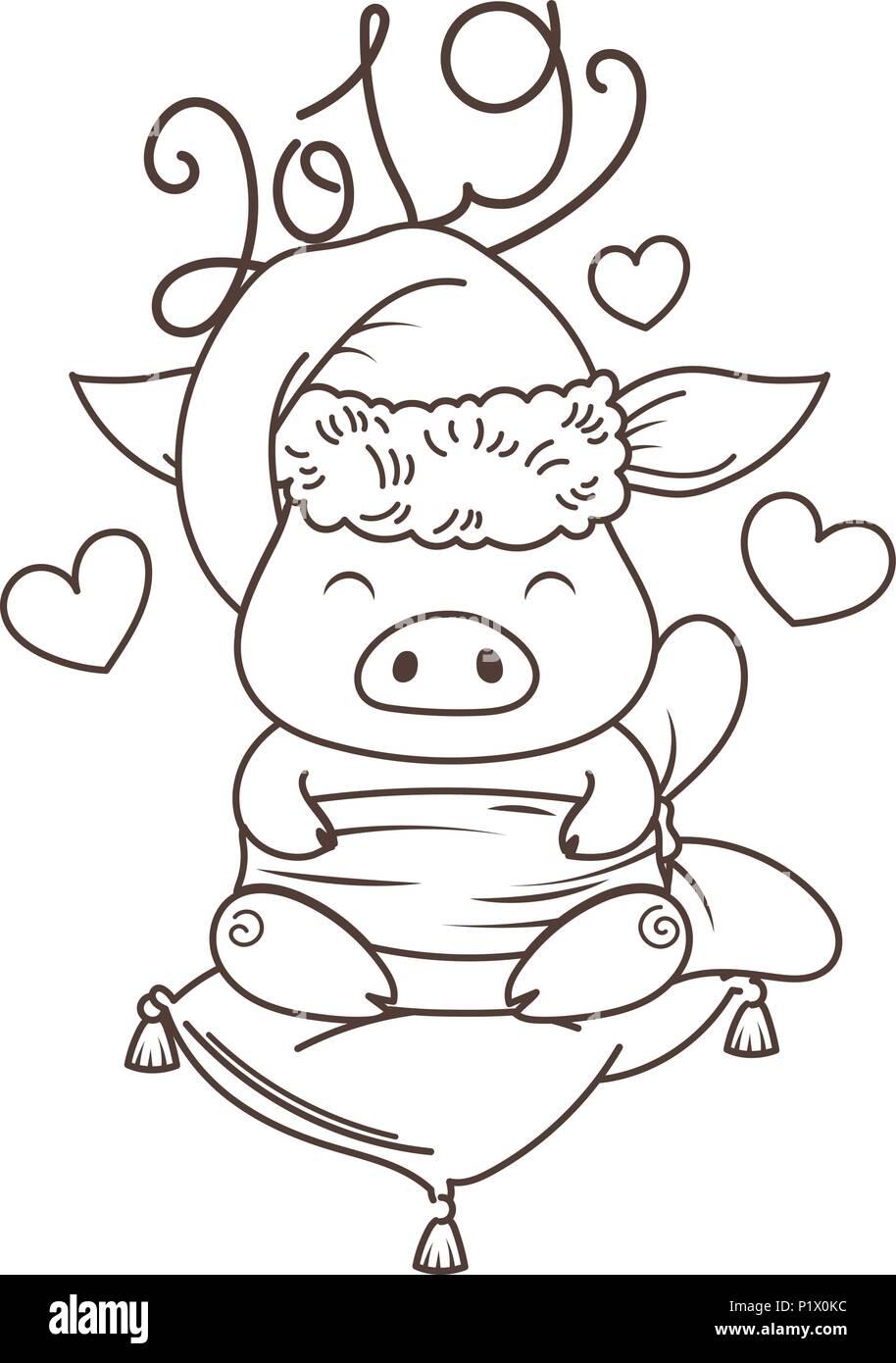 Cute Dibujos Animados De Cerdo En Amor Con El Arbol De Navidad