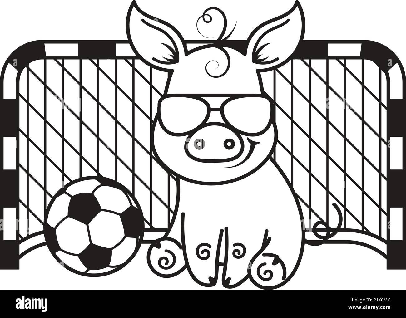 Cute Dibujos Animados De Cerdo Con Una Pelota De Fútbol Ilustración