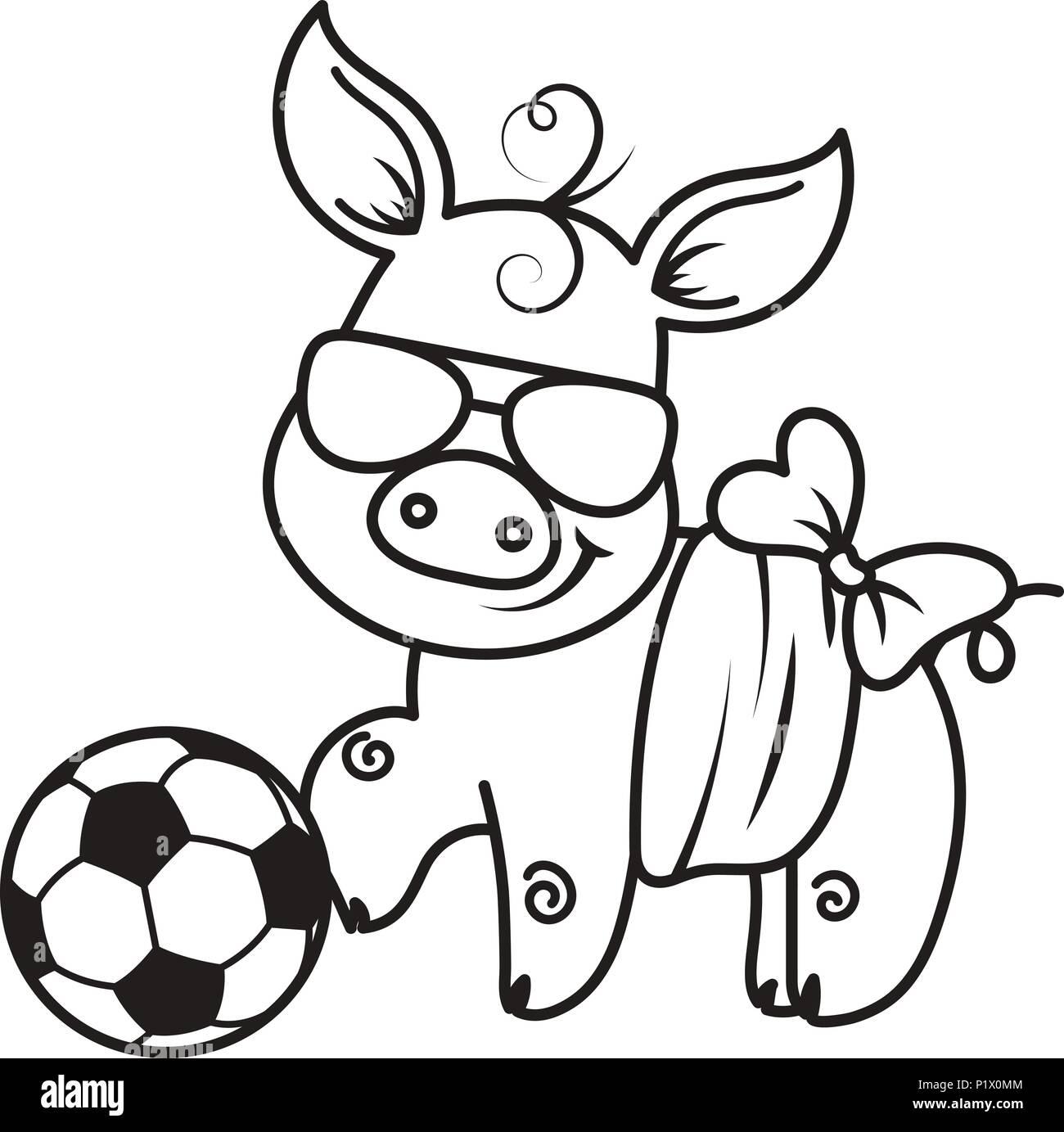 Cute dibujos animados de cerdo con una pelota de fútbol. Ilustración ...