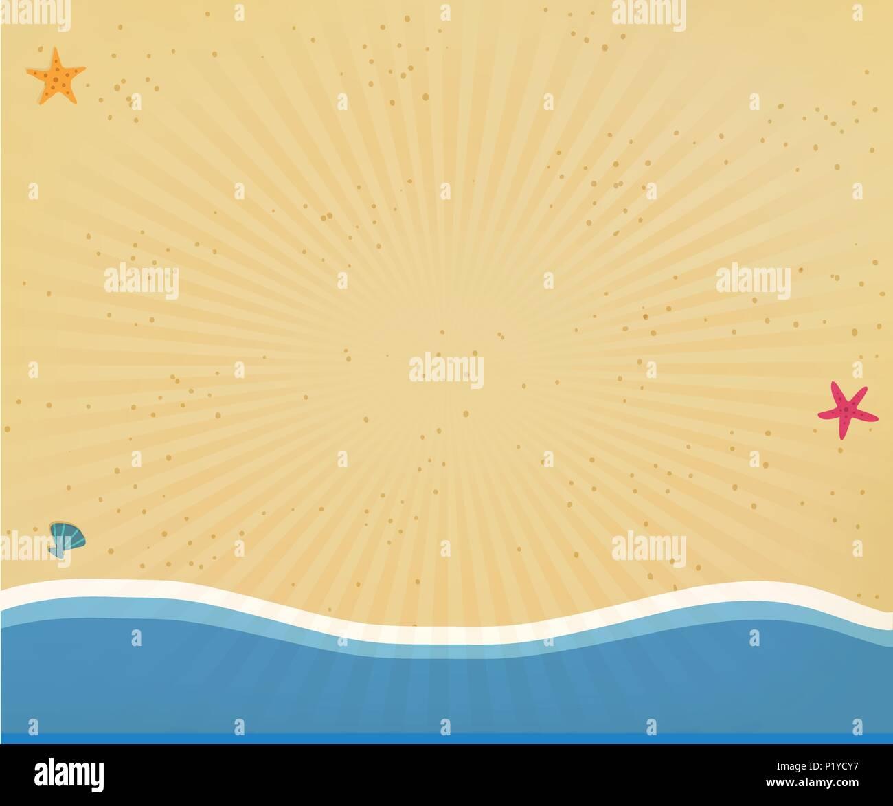 Vista superior de playa de arena dorada con amarillo arena, conchas ...