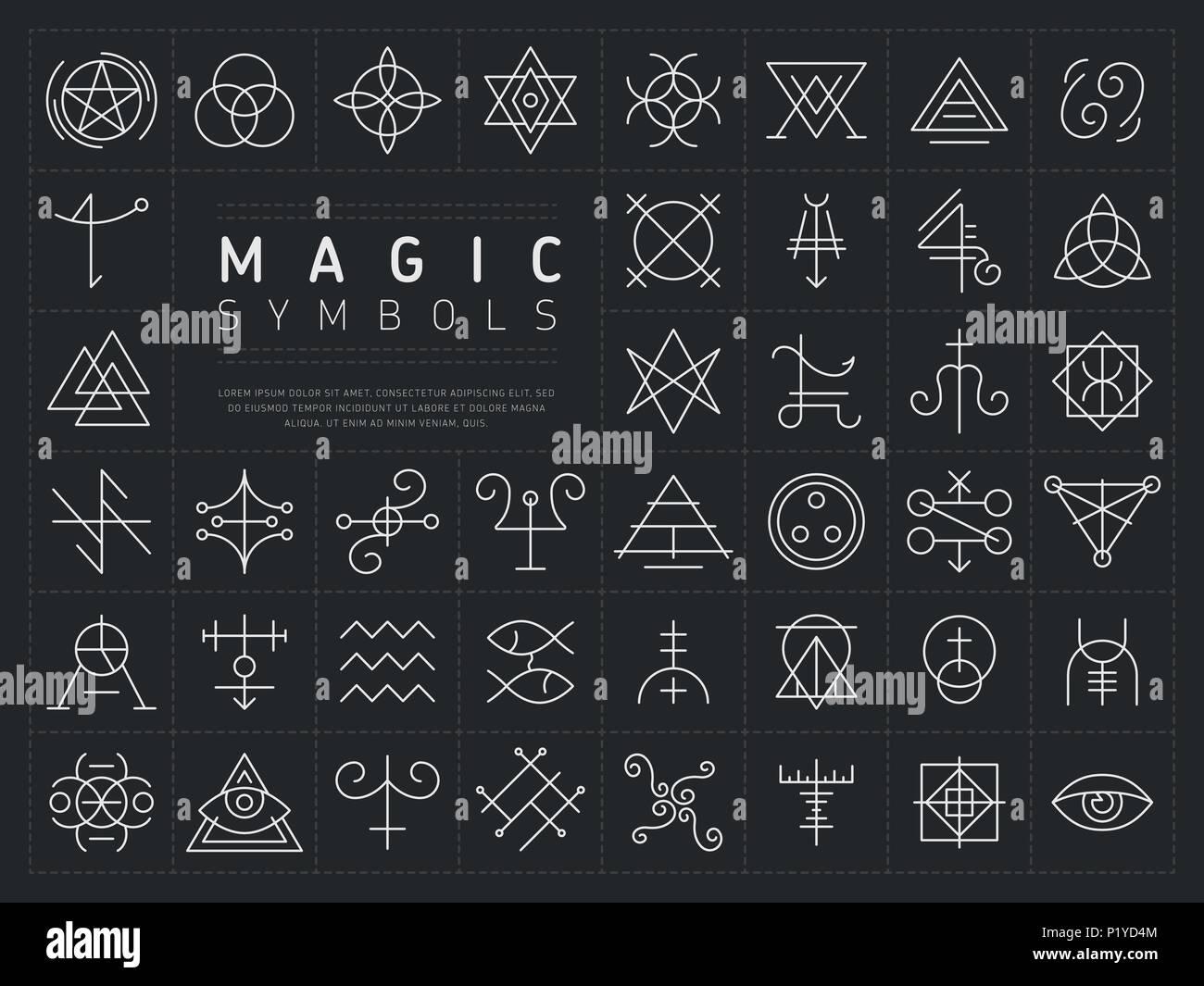 Conjunto de iconos de símbolos mágicos Ilustración del Vector