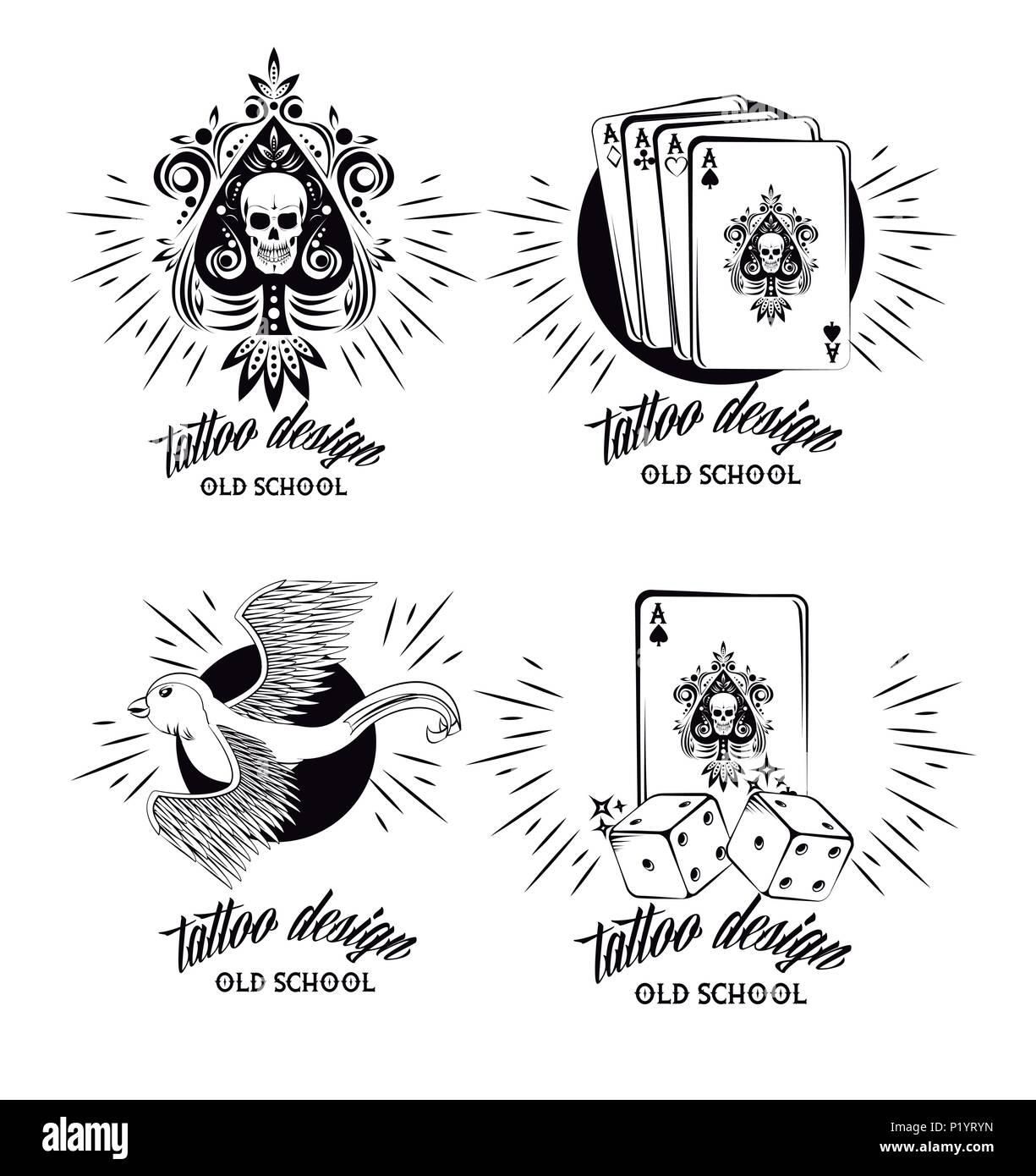 Conjunto De Diseño De Tatuaje Emblemas En Blanco Y Negro Ilustración
