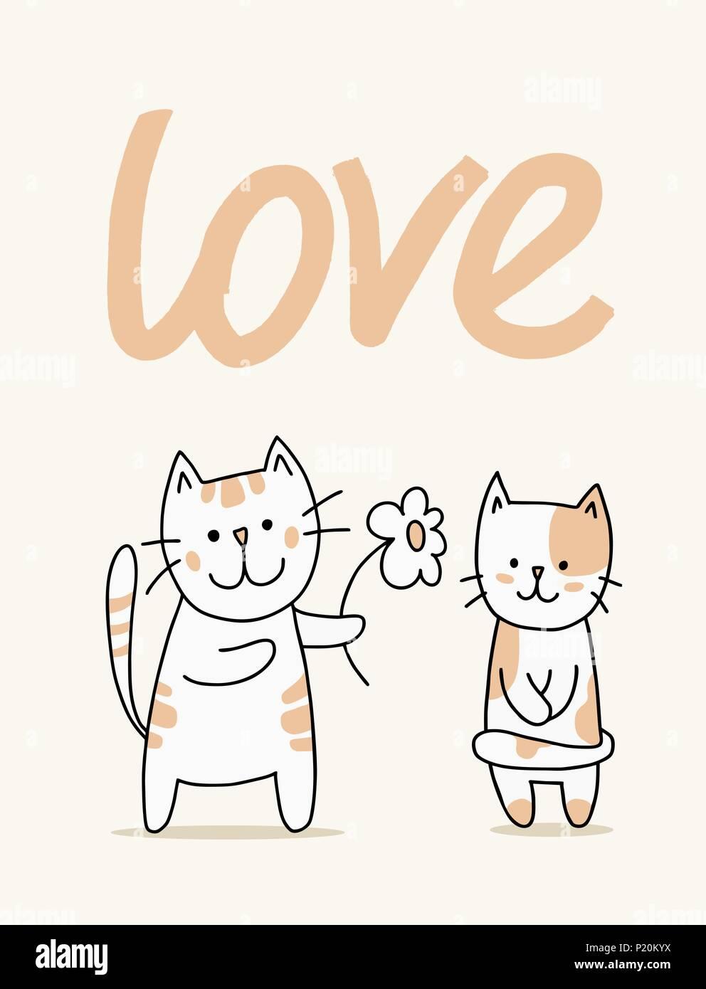 Par De Lindos Gatos Vectoriales Con Flor Dibujos Animados Amor
