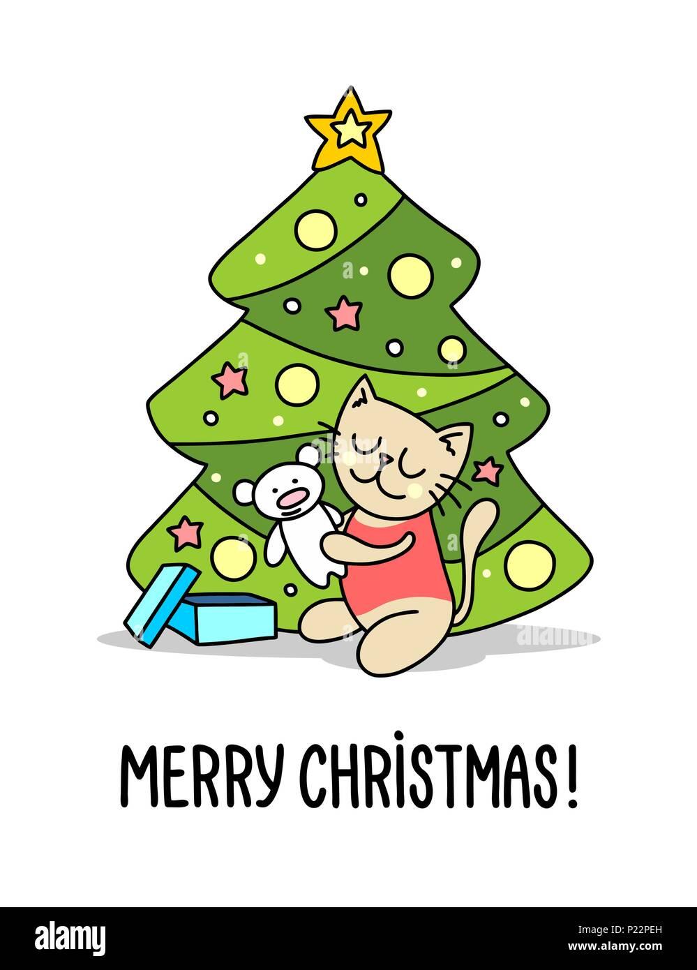 d07e436b6b0d9 Baby kitty junto al árbol de Navidad Regalo de navidad. Feliz Navidad y  Próspero Año Nuevo póster de ilustración vectorial plana