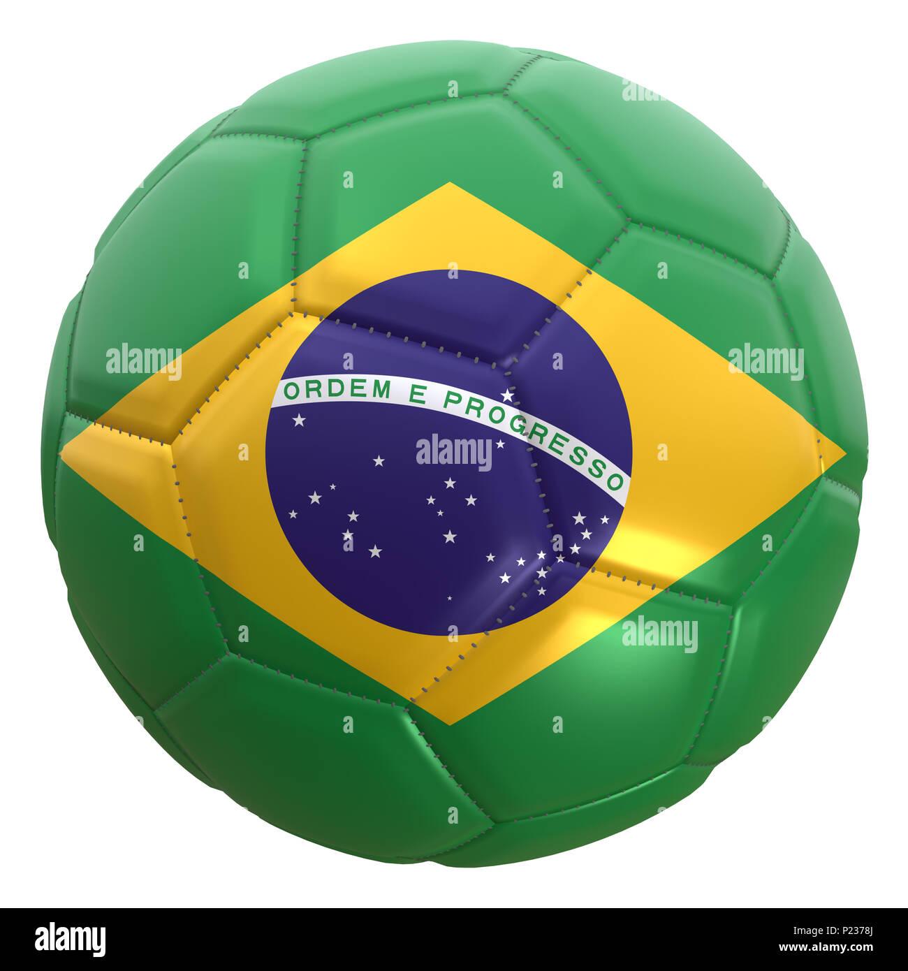 fca326c00760d Representación 3D de una bandera de Brasil en un balón de fútbol. Brasil es  uno