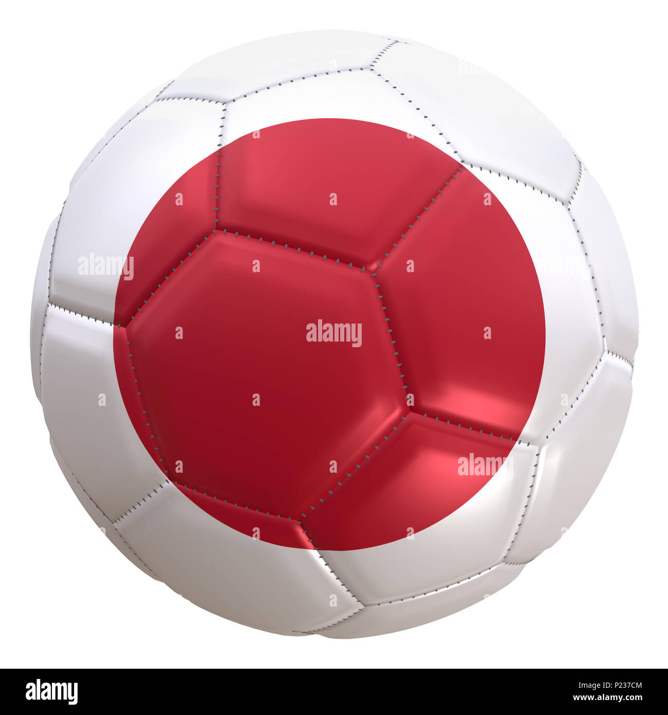 Representación 3D de una bandera japonesa en un balón de fútbol. Japón es  uno de 27ad409662575