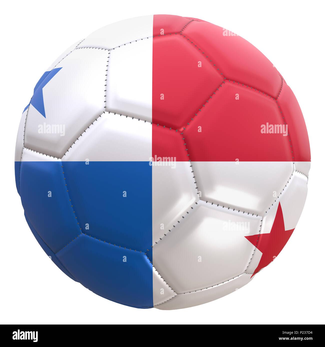 Representación 3D de una bandera de Panamá en un balón de fútbol. Panamá es  uno 168eed04b37ee