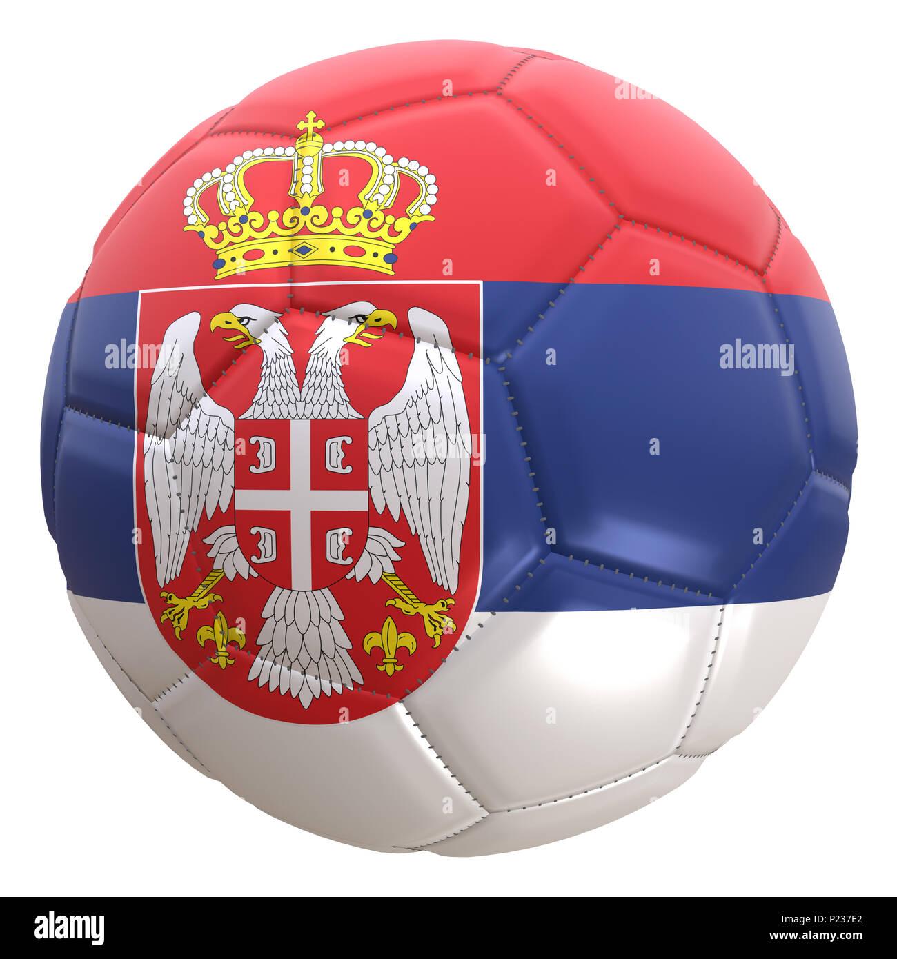 Representación 3D de una bandera serbia sobre una pelota de fútbol. Serbia  es uno de 8efbd8dbc1154