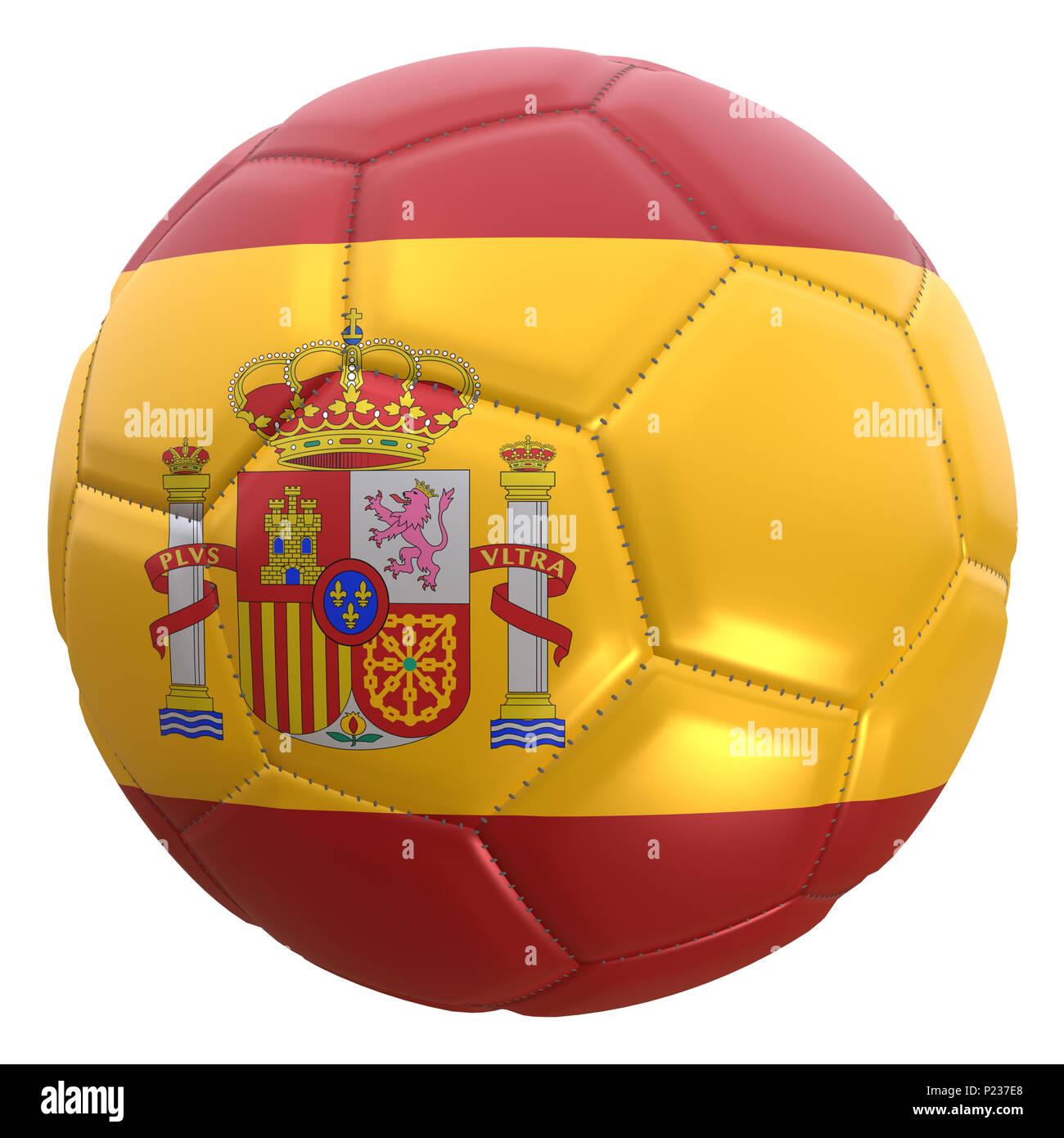 Representación 3D de una bandera de España en un balón de fútbol. España es  uno de los miembros del equipo del campeonato de la copa mundial 2018 en  Rusia. 39189b23f3c30