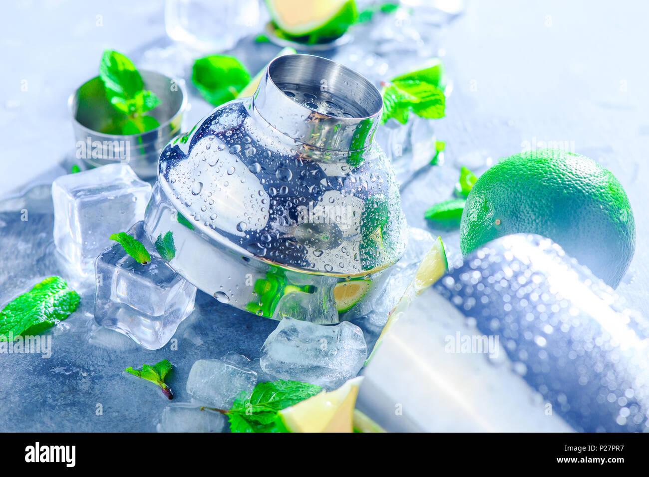 Agitador y accesorios bar cerca. Cóctel Mojito ingredientes, Menta, Limón y cubitos de hielo sobre un fondo de piedra gris. Concepto de bebida de verano con copia Imagen De Stock