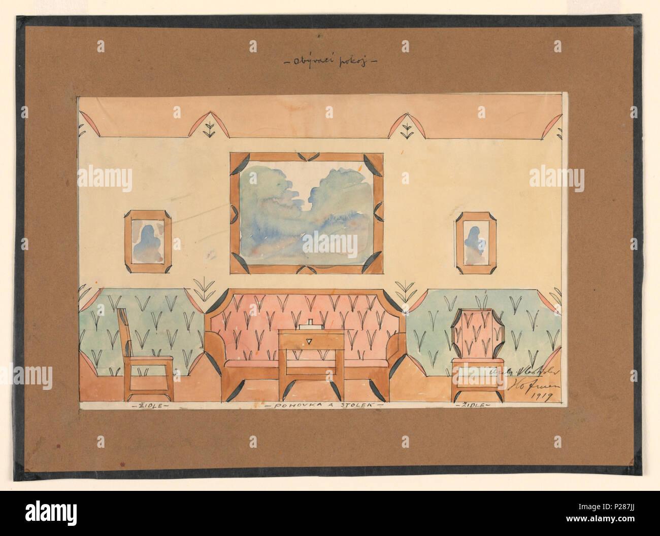 Inglés Dibujo Diseño Para Una Sala De Estar Con Sofá Dos