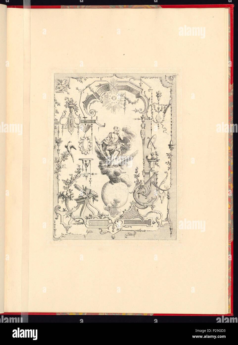 268 Imprimir, Nouveau livre de principes d'ornements particulièrement pour trouver ONU nombre infini de tormes qui dependiente, d'après les dessins de Gillot. Peintre du Roy gravé par Huquier; pl. 11 (CH) 18272717 Foto de stock