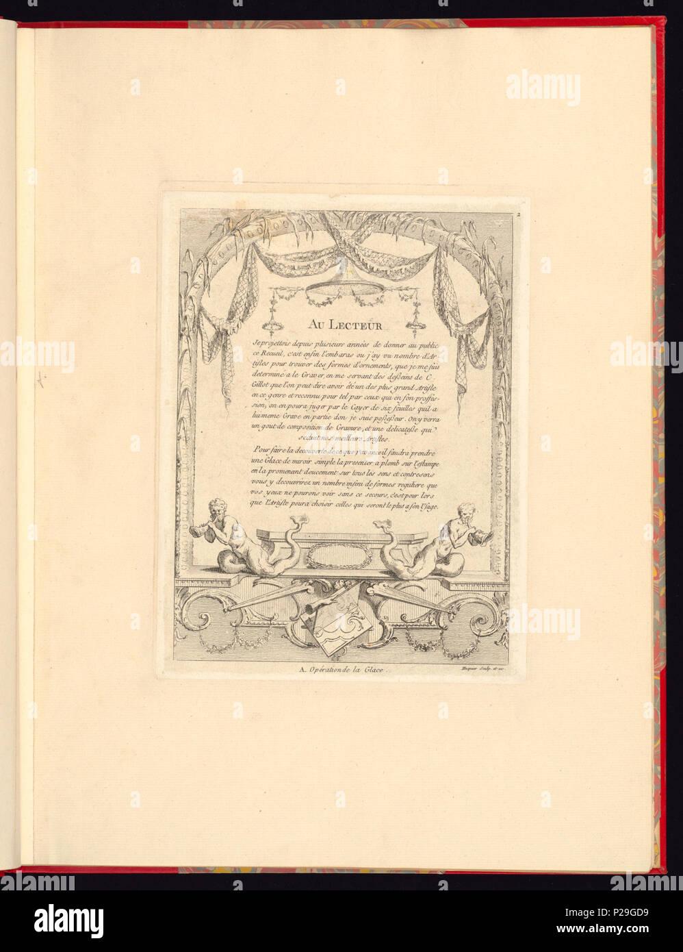 268 Imprimir, Nouveau livre de principes d'ornements particulièrement pour trouver ONU nombre infini de tormes qui dependiente, d'après les dessins de Gillot. Peintre du Roy gravé par Huquier; pl. 2. Au (CH) 18272737 Foto de stock