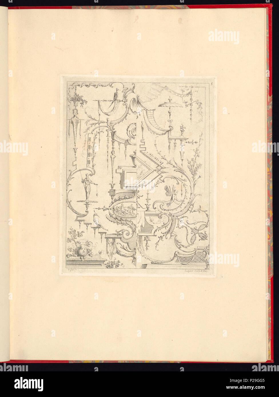 268 Imprimir, Nouveau livre de principes d'ornements particulièrement pour trouver ONU nombre infini de tormes qui dependiente, d'après les dessins de Gillot. Peintre du Roy gravé par Huquier; pl. 5 (CH) 18272757 Foto de stock