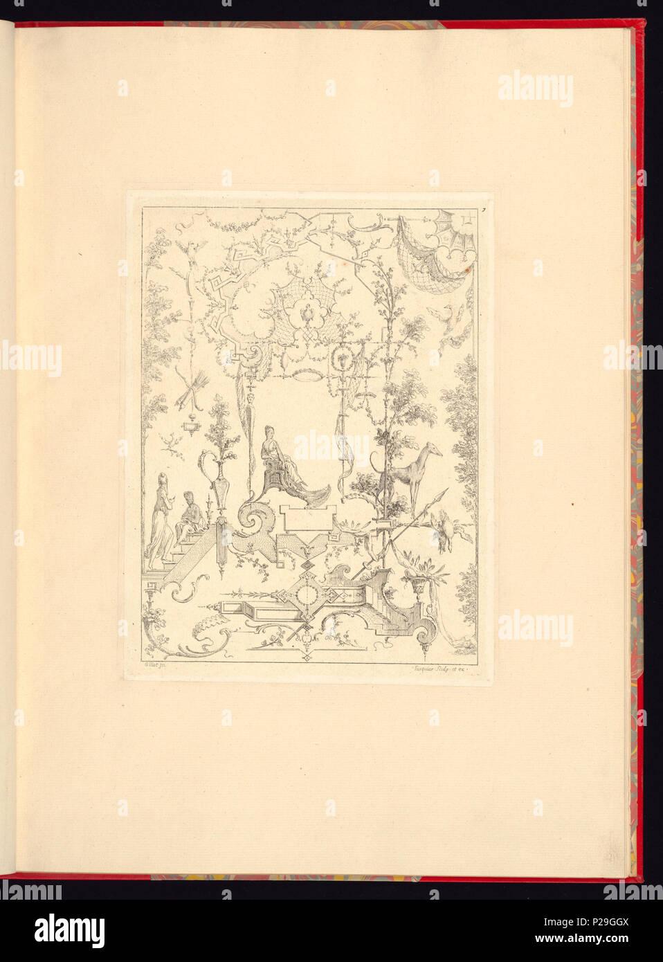 268 Imprimir, Nouveau livre de principes d'ornements particulièrement pour trouver ONU nombre infini de tormes qui dependiente, d'après les dessins de Gillot. Peintre du Roy gravé par Huquier; pl. 7 (CH) 18272773 Foto de stock