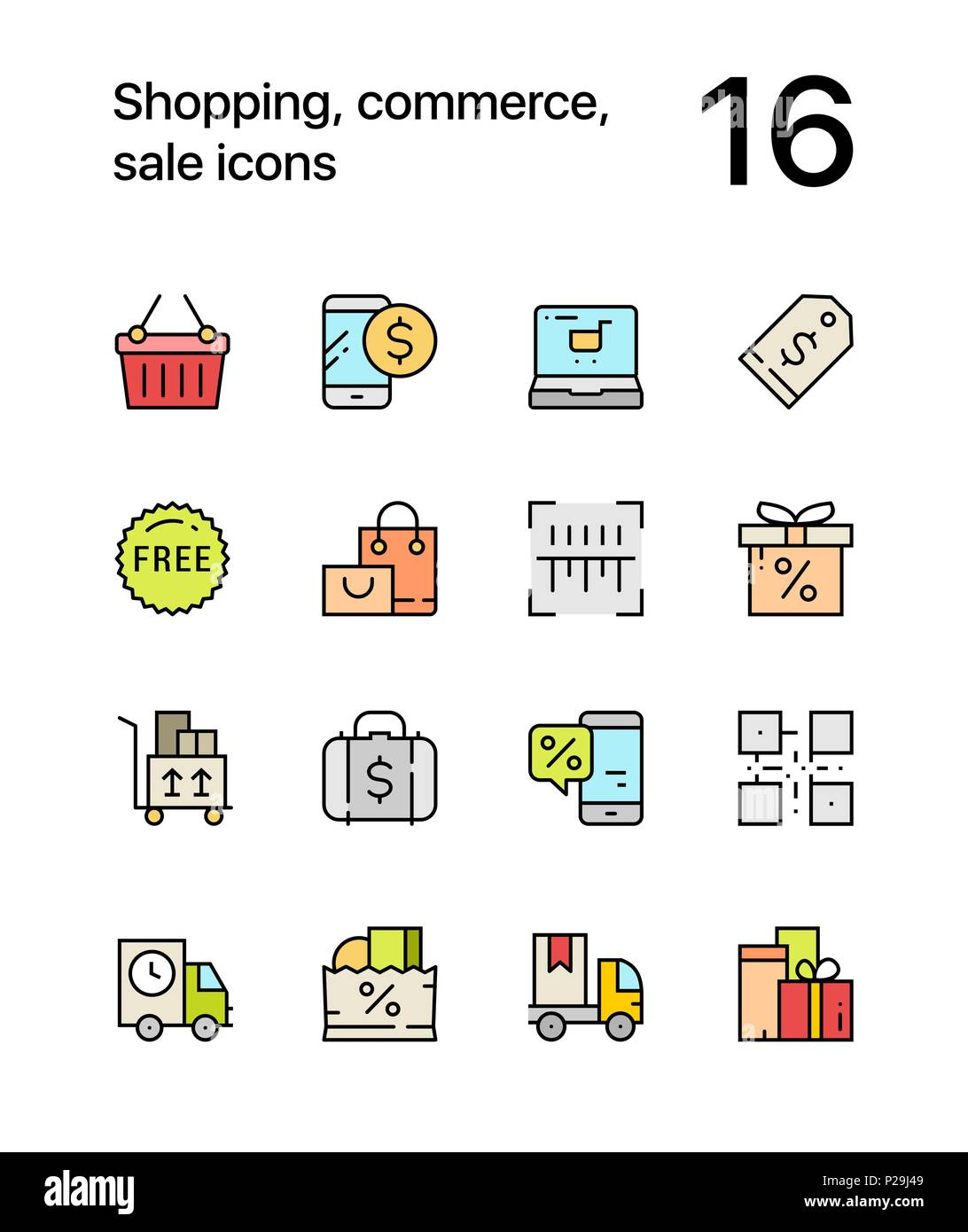 Compras Coloreado Comercio Venta De Iconos Para Web Y